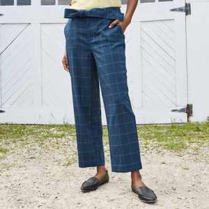 Women's High-Rise Tie Waist Straight Pants - A New Day Pants