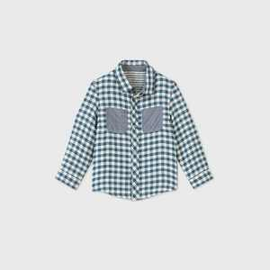 Toddler Boys' Gingham Striped Reversible Button-Down Shirt - Cat & Jack Blue