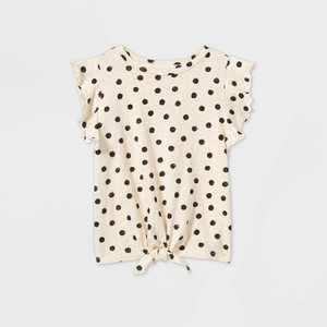 Toddler Girls' Ruffle Printed Tie-Front Short Sleeve T-Shirt - art class