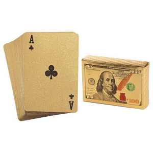 Juvale 2 Standard Decks of Gold Playing Cards, Waterproof Gold Foil Plastic Poker Cards