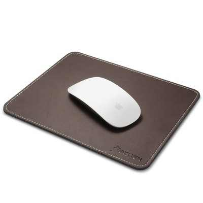 Insten Leather Mouse Pad - Anti-Slip & Waterproof Mat for Wired/Wireless Gaming Computer Mouse, Brown