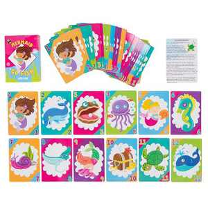 Go Fish Card Game - 4 Decks of 48 Cards Each, Classic Card Games for Kids, Mermaid Design