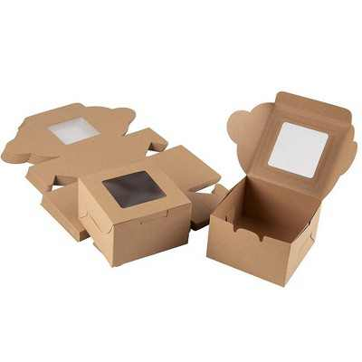 Juvale 25 Pack Bakery Pastry Box Container for Cupcake Donut & Mini Cake , Kraft Paper with Window 4 x 4 x 2.3 in