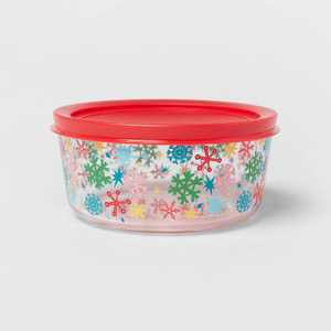 54oz Glass Large Snowflake Storage Container with Lid - Wondershop™