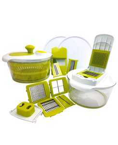 10-in-1 Multi-Use Salad Spinning Slicer, Dicer and Chopper with Interchangeable Blades and Storage Lids