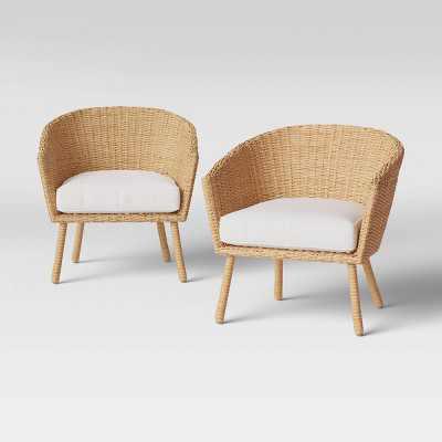 2pk Eliot Closed Weave Wicker Patio Club Chairs - Threshold™