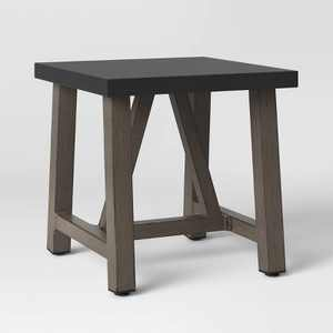 Faux Wood Patio Accent Table with Faux Concrete Tabletop - Smith & Hawken™