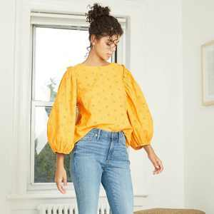 Women's Puff 3/4 Sleeve Eyelet Blouse - Universal Thread