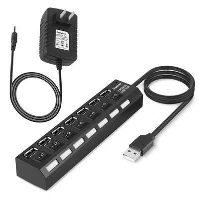 Insten 7-Port USB Hub with ON / OFF Switch Adapter LED Light (+ 5V Power Adapter 2A AC Wall ) - Black