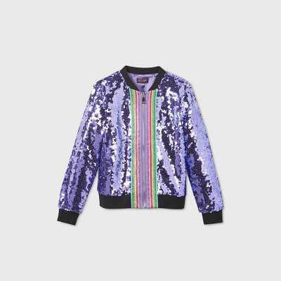 Girls' JoJo Siwa Sequin Dream Bomber Jacket - Purple