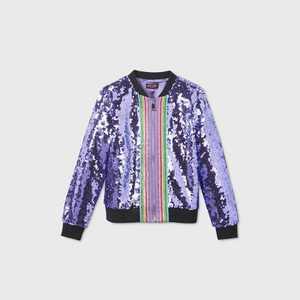 Girls' JoJo Siwa Sequin Dream Bomber Jacket - Purple
