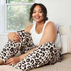 Women's Plus Size Animal Print Beautifully Soft Pajama Pants - Stars Above Oatmeal