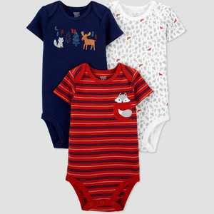 Baby Boys' 3pk Fox Short Sleeve Bodysuit - Just One You made by carter's Blue