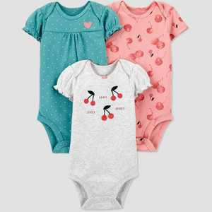 Baby Girls' 3pk Floral Short Sleeve Bodysuit - Just One You made by carter's Green
