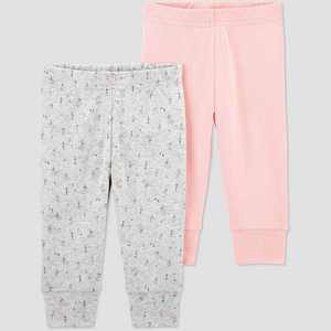 Baby Girls' 2pk Bear Pull-On Pants - Just One You made by carter's Pink