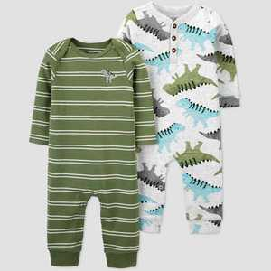 Baby Boys' 2pk Dino Jumpsuit - Just One You made by carter's Green