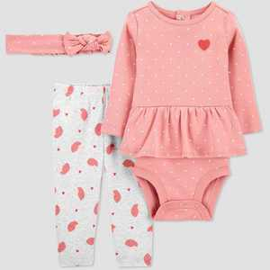 Baby Girls' 3pc Heart/Hedgehog Print Top and Bottom Set with Headband - Just One You made by carter's Pink/White