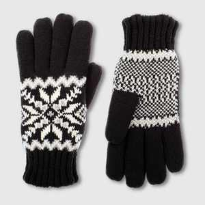 Isotoner Women's smartDRI Knit Snowflake Gloves - Black One Size