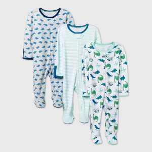 Baby Boys' 3pk Dino Dreams Sleep N' Play - Cloud Island Blue