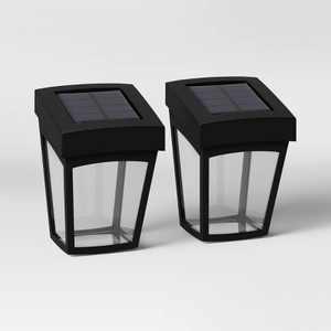 2pk Deck LED Outdoor Lantern Lights Black - Threshold™