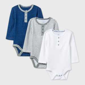 Baby Boys' 3pk Long Sleeve Placket Bodysuit - Cloud Island Navy/White/Gray
