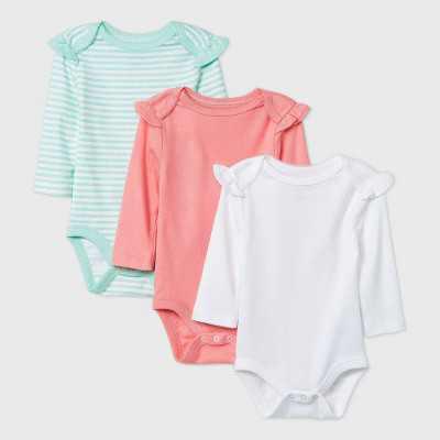 Baby Girls' 3pk Long Sleeve Basic Bodysuit - Cloud Island White/Coral/Green