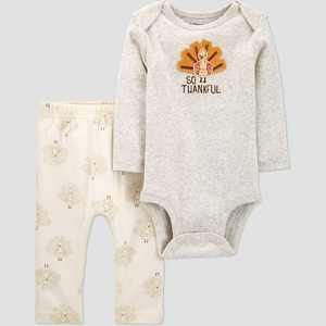 Baby Organic Cotton Thanksgiving Pants and Bodysuit Set - little planet organic by carter's Gray