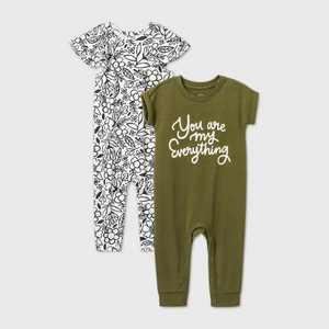Baby Girls' 2pk 'You Are My Everything' Short Sleeve Romper - Cat & Jack Green