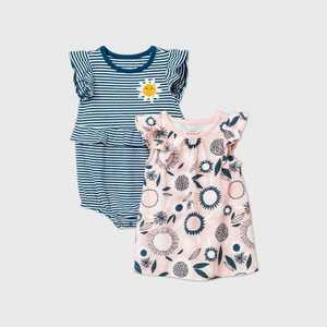 Baby Girls' Floral Dress Romper - Cat & Jack Blue