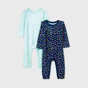 Baby Girls' 2pk Dot Long Sleeve Romper - Cat & Jack Blue