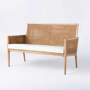 Benmore Wicker & Faux Wood Patio Loveseat - Threshold™ designed with Studio McGee