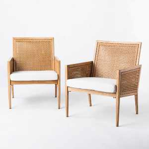 Benmore 2pk Wicker & Faux Wood Patio Accent Chairs - Threshold™ designed with Studio McGee