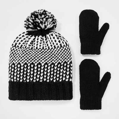 Toddler Boys' Rib Knit Cuff Beanie with Pom and Mittens Set - Cat & Jack Black/White