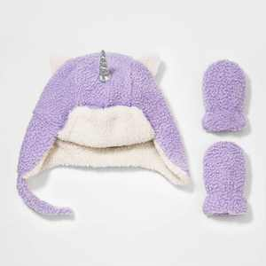 Baby Girls' 2pk Fleece Beanie with Mittens - Cat & Jack Purple