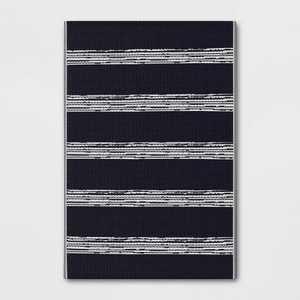 4' x 6' Outdoor Rug Dark Navy Stripe - Room Essentials™