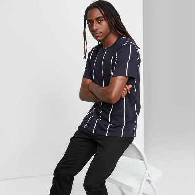 Men's Striped Relaxed Fit Fighter Pilot Crewneck T-Shirt - Original Use Blue