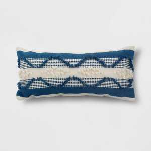 Decorative Woven Lumbar Throw Pillow Navy/Cream - Threshold™