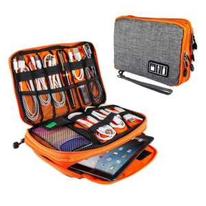 """Electronics Organizer Travel Universal Organizer Electronic Accessories Case for Cable, Charger, Phone, USB Drive, SD Card, Mini Tablet(Up to 7.9"""")"""
