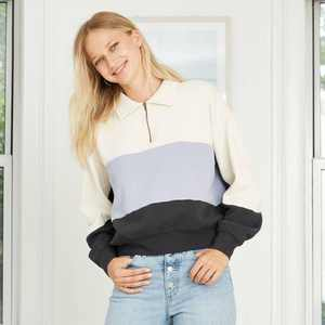 Women's Quarter Zip-Up Pullover Sweatshirt - Universal Thread