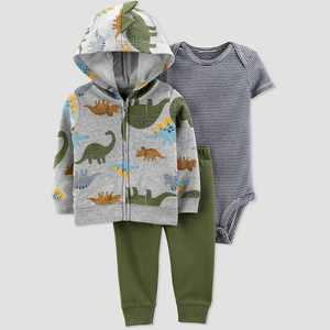 Baby Boys' Dino 3pc Cardigan Top & Bottom Set - Just One You made by carter's Gray