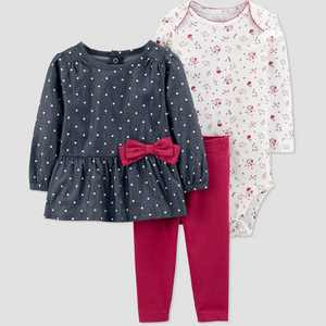 Baby Girls' Chambray 3pc Top & Bottom Set - Just One You made by carter's Blue