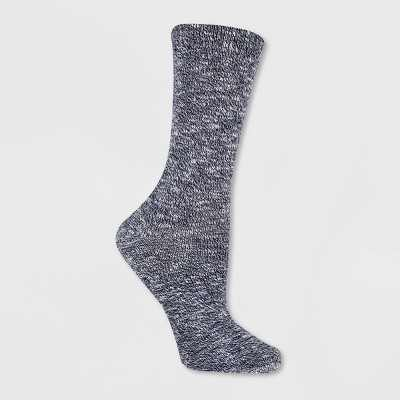 Alaska Knits Women's Lightweight Wool Blend Marled Crew Boot Socks 4-10