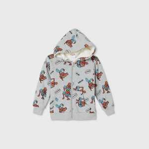 Toddler Boys' Spider-Man Sherpa Lined Zip-Up Sweatshirt - Gray