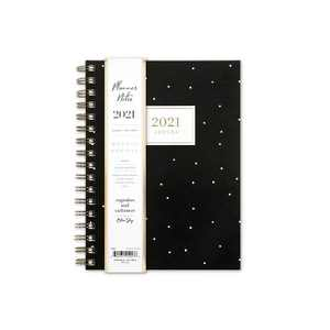 """2021 Planner Notes 5.875"""" x 8.625"""" Weekly/Monthly Wirebound Dalmatian Dot Mini Black - cupcakes and cashmere for Blue Sky"""