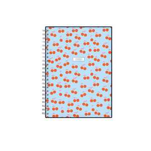 "2021 Planner Notes Clear Pocket Cover 5.875"" x 8.625"" Weekly/Monthly Wirebound - Cherries - Dabney Lee"
