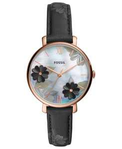 Women's Jacqueline Black Leather Strap Watch 36mm