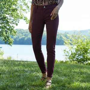 Women's Mid-Rise No Gap Waist Twill Skinny Pants - Knox Rose