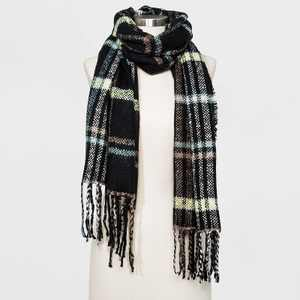 Women's Plaid Scarf - A New Day™ Black
