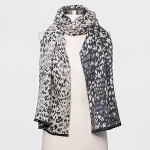 Women's Leopard Print Scarf - A New Day™ Gray