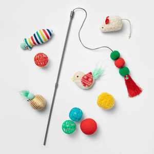 Cat Toy Gift Set - Red - 10pk - Boots & Barkley™